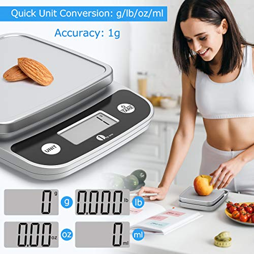 SIMPLETASTE 1byone Digital Food Kitchen Scale 11 Lb, Weight Grams and oz for Cooking Baking, 1g/0.1oz Precise, 6.1x5.5inch Chrome Plated Platform