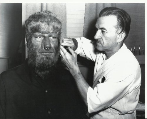 [Lon Chaney Jr. as the Wolf Man with make up artist 8x10 Photo] (Dracula Makeup)