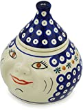 Polish Pottery 6¾-inch Garlic and Onion Jar (Mosquito Theme) + Certificate of Authenticity