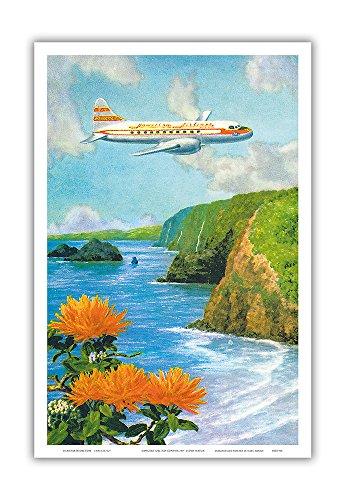Over Pololu Valley, Big Island Hawai'i - Hawaiian Airlines (Convair 340 Aircraft) - Vintage Hawaiian Color Postcard by Lloyd Sexton c.1952 - Hawaiian Master Art Print - 12 x 18in