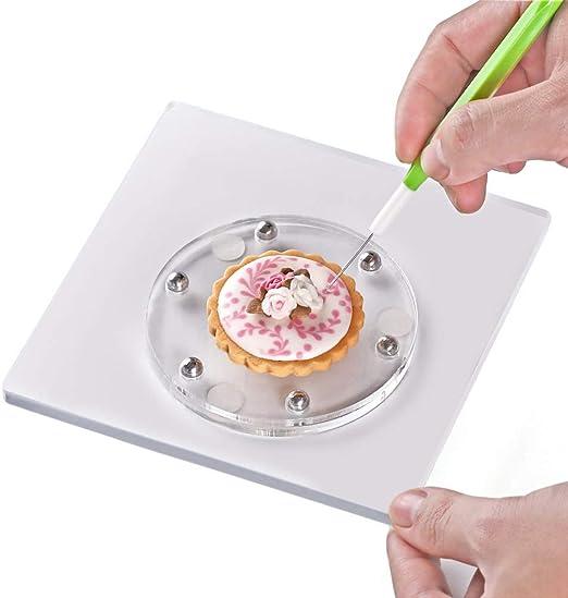 dicker quadratisch 14,7 x 14,7 cm Acryl mit rutschfester Silikon-Matte Kasmoire Drehteller zum Dekorieren von Pl/ätzchen l/ässt sich reibungslos drehen und praktisch