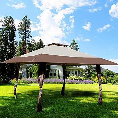 CMP, toldo para jardín o Patio, Doble Techo, fácil de Instalar, para Fiestas, Eventos, Color Beige: Amazon.es: Jardín