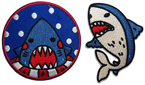 Set Baby Shark Iron On Patch for Kids Baby Cartoon Kid Patches Appliques Fabric Decorating for Hat Cap Polo Backpack Clothing Jacket T-Shirt DIY Embroidered Iron On/Sew On Patch