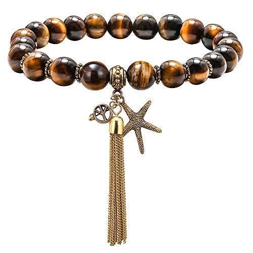 M MOOHAM Gemstone Bead Bracelets - 8mm Natural Tiger Eye Stone Gemstone Beads Bracelet, Men Women Stress Relief Yoga Beads Elastic Semi-Precious Tiger Eye Starfish Tassel Bracelet Bangle