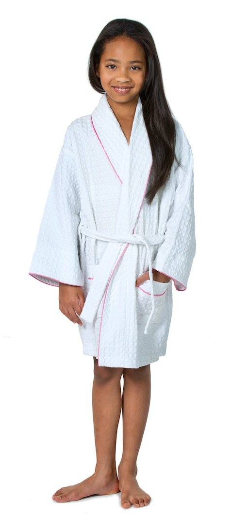 THIRSTY Towels Children's Turkish Cotton Waffle Robe for Boys and Girls (A 14-16, White/Pink Trim) by THIRSTY (Image #1)