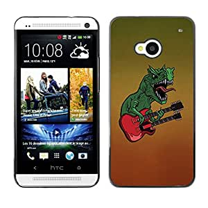 QCASE / HTC One M7 / dinosaurio rock arte del monstruo de la guitarra / Delgado Negro Plástico caso cubierta Shell Armor Funda Case Cover