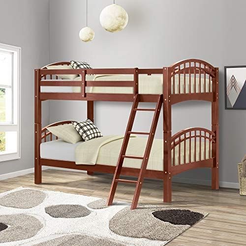 Harper&Bright Designs Twin-Over-Twin Solid Hardwood Bunk Bed (Walnut)