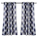 MYSKY HOME 3D Geometric Fashion Design Grommet Print Grommet Thermal Insulated Blackout Curtain Panels for Kids Room, 52 by 63 Inch, Blue, 1 Panel