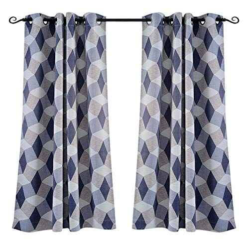 MYSKY HOME 3D Geometric Fashion Design Grommet Print Grommet Thermal Insulated Blackout Curtain Panels for Kids Room, 52 by 63 Inch, Blue, 1 Panel by MYSKY HOME