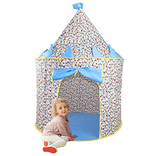 Children Play Tent - Kids Fairy Castle Playhouse Pop Up Tent by Wonder Space, Comes with Portable Carrying Case, Ideal Indoor & Outdoor Toy for Babies Girls Boys Nursery (Blue) - Diy Fire Fairy Costume