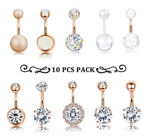 Surgical Steel Belly Button Ring Navel Ear Rings CZ Body Piercing Jewelry (C: Rose-Gold-Tone) ()
