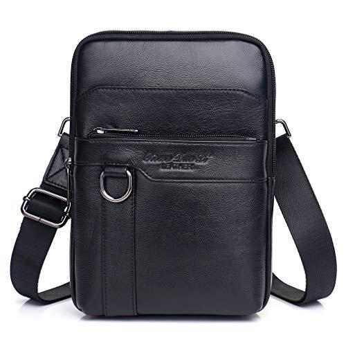 Hebetag Vintage Leather Shoulder Messenger Bag for Men Travel Business Crossbody Pack Wallet Satchel Sling Chest Bags Black (Bag Messenger Black Shoulder)