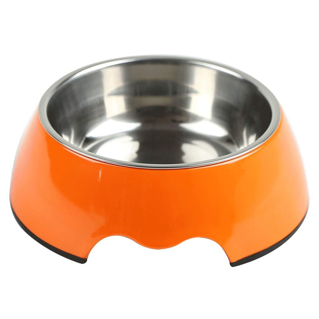 S SLH Dog Supplies Dog Food Bowl Large Dog Rice Bowl orange Dog Bowl Stainless Steel Dog Bowl Double Bowl Cat Bowl Pet Bowl (Size   S)