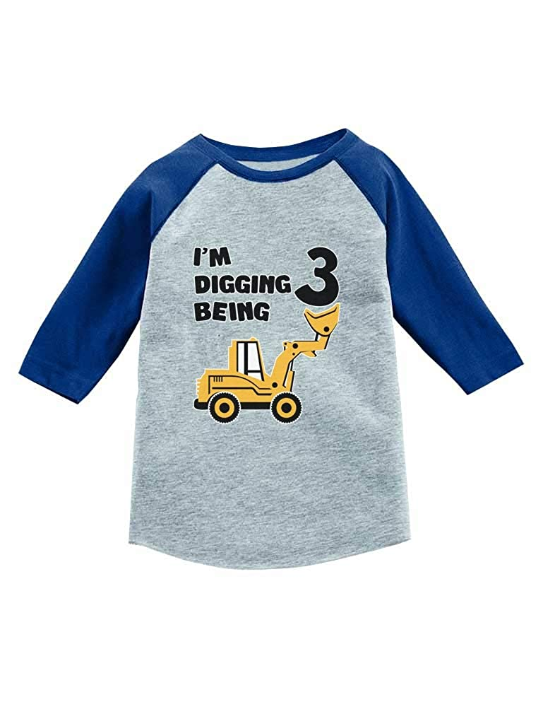 Tstars 3rd Birthday Gift Construction Party 3//4 Sleeve Baseball Jersey Toddler Shirt