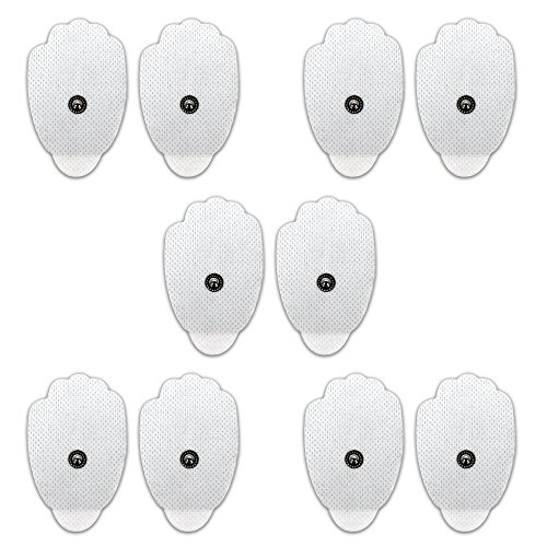 FDA cleared HealthmateForever massage electrode pads, a set of 10 pcs (5 pairs), self adhesive, conductive, water activated, no gel needed, easy to clean. Compatible with HealthmateForever tens unit