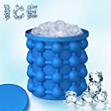 ice maker mini - Mini Ice Cube Maker Genie by AIQI - 2-in-1 Ice Cube Silicone Molds Ice Bucket - New Design Ice Cube Molds Whiskey Squares, Ice Cube Maker Ice Cube Vessel (Blue)