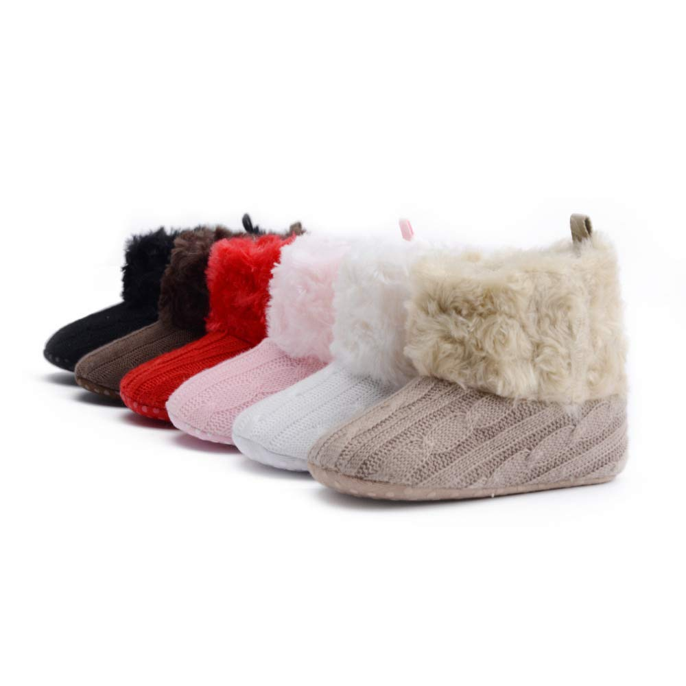 Bigmai 1 Pair Baby Girls Knit Soft Knitting Winter Warm Snow Boots Crib Shoes for Winter