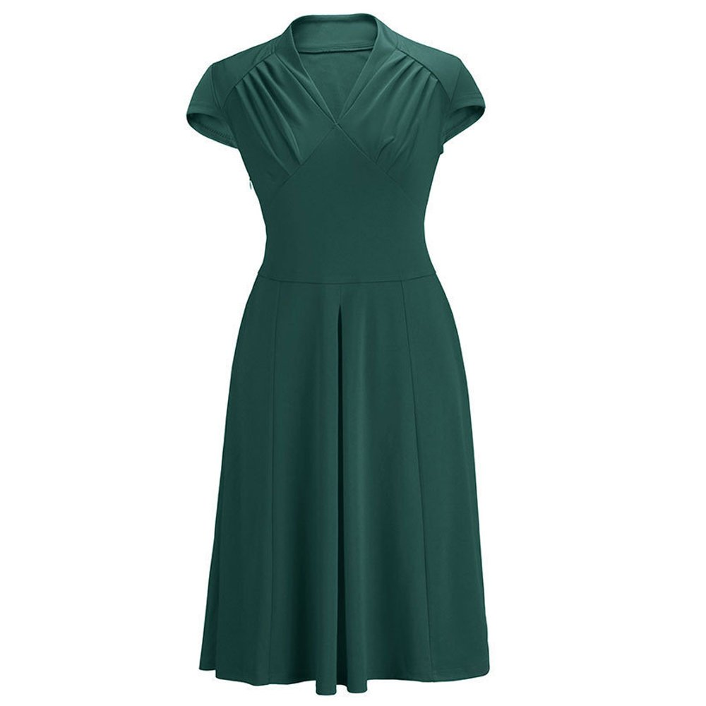 Women Vintage Retro Ball Gown 1940s Flared Dress Swing Skaters