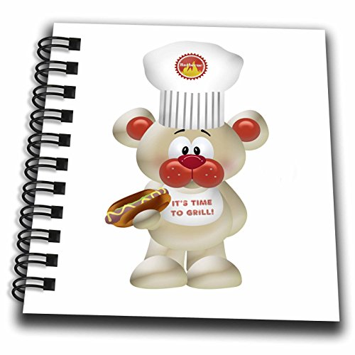 (3dRose Cute Beige and Orange Barbecue Bear Holding A Hot Dog - Mini Notepad, 4 by 4-inch (db_222582_3))