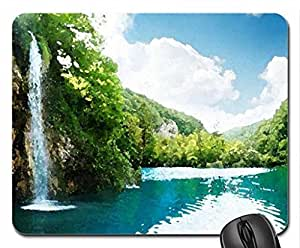 Exotic Waterfall Mouse Pad, Mousepad (Waterfalls Mouse Pad, Watercolor style) by icecream design