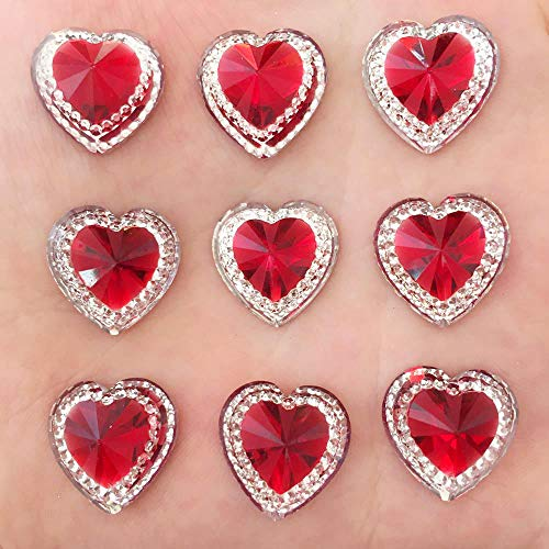 Pukido DIY 20PCS 16mm Resin Red Heart Flatback Rhinestone Scrapbook Children Handmade Ornaments Buttons PF138 ()
