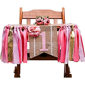 High Chair Decorations for 1st Birthday Girl Birthday Party Banner Tassels Crown Artificial Peony Flower Hat Set, Pink 114