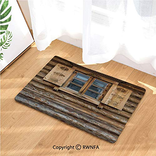 Kitchen Rugs Runners Windows with Shutters Patterned on The Wall of The Old Wooden House Cottage Print Non-Slip Rubber Backing Mats and Rugs Doormats Machine Washable(15.7X 23.6 Inch),Brown Beige
