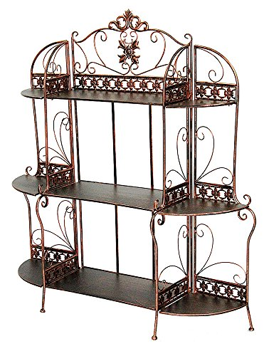 Heather Ann Creations Oliver Collection Contemporary Style Ornate Steel 3 Shelf Bakers Rack, Black/Gold (Ann Unit Wall)