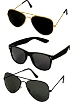 Shara UV Protected Aviator and Wayfarer Unisex Sunglasses Set of 3 Combo Pack (SHA/SUNGLASSES/AAWBK 59 Black lens)