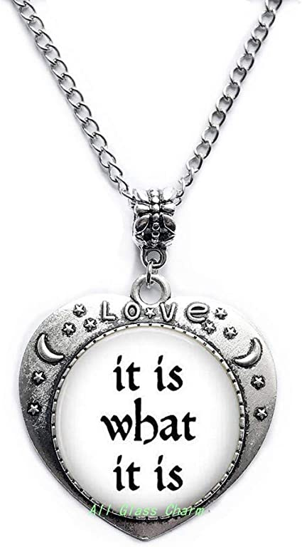 Beautiful Locket Necklace,Zen Quote Buddhism Spiritualism Locket Necklace It Is what It Is Zen Jewelry,AS0187