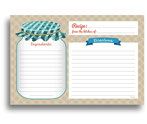 Mason Jar Recipe Cards - 50 Double Sided Cards, 4x6 inches. Thick Card - Gift Jar Recipes