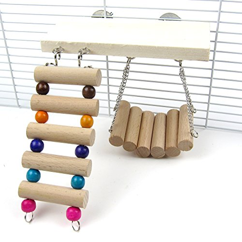 Alfie Pet by Petoga Couture – Bruce Wooden Swing, Ladder and Resting Platform set for Mouse, Chinchilla, Rat, Gerbil and Dwarf Hamster