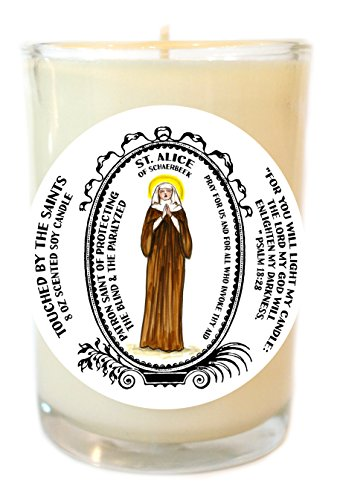 St Alice for Protecting the Blind & Paralyzed 8 Oz Scented Soy Glass Prayer Candle by Touched By The Saints