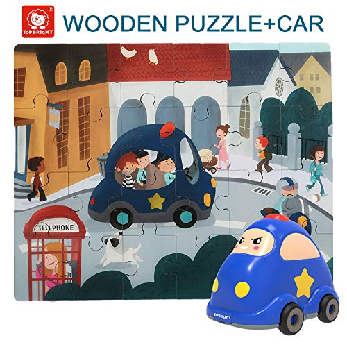 TOP BRIGHT Floor Puzzles for Kids , 24 Pieces Puzzles for Kids Cars , Educational Puzzles for Toddler-Police Car