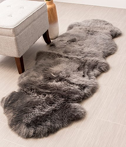 Genuine Australian Sheepskin Rug Two Pelt Gray Fur, Double
