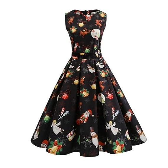 magasin en ligne ec93b d63e6 ZYUEER Robes Noel Femme Vintage Manches Longues A - Ligne ...