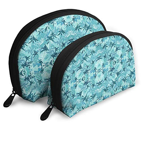 Camo Sparkle (HJGeO Sparkle Turquoise Camo Travel Makeup Cosmetic Pouch Makeup Travel Bag Purse for Women Or Girls)