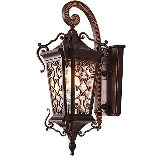 HDMY Luz/Aplique / Linterna de Pared para Exterior, rústica, Antigua, Color Negro y Metalizado, Vidrio Transparente en...