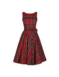 Elfremore Hepburn Sleeveless Dress Retro Vintage Plaid Swing Cocktail Dress with Belt