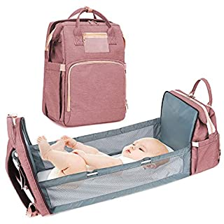 4-in-1 Baby Diaper Backpack Bag, Pink Travel Foldable Bed with Mattress, Portable Changing pad, Large Capacity Mommy Bag, Portable Bassinets Bed for Baby and Toddler, Travel Crib Infant Sleeper