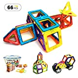 EMAXTION Magnetic Blocks (66 Piece Set of Magnetic Tiles) – Fun, Creative Magnetic Building Blocks Set for Kids Aged 3 and Older – Great Educational 3d Building Blocks for Learning While Playing