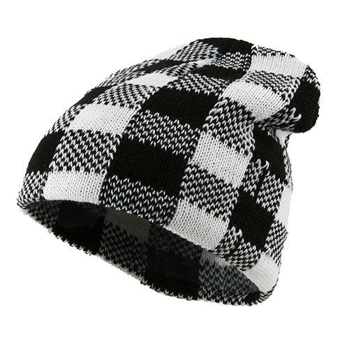 Buffalo Plaid Short Beanie - White Black - E4hats Plaid Cap