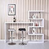 HOMCOM High Gross Storage Shelf Wine Display Unit Bar Counter Divider Lounge Desk Glossy White