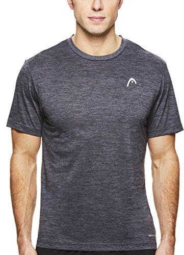 HEAD Men's Space Dye Hypertek Crewneck Gym Training & Workout T-Shirt - Short Sleeve Activewear Top - Spacedye Ebony Heather Black, Medium