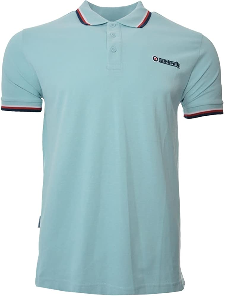 Lambretta Mens White Polo Piquet Shirt Twin Navy Sky Blue Tipped Tipped S L 4XL