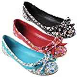 Brinley Co Womens Bow Accent Floral Ballet Flats