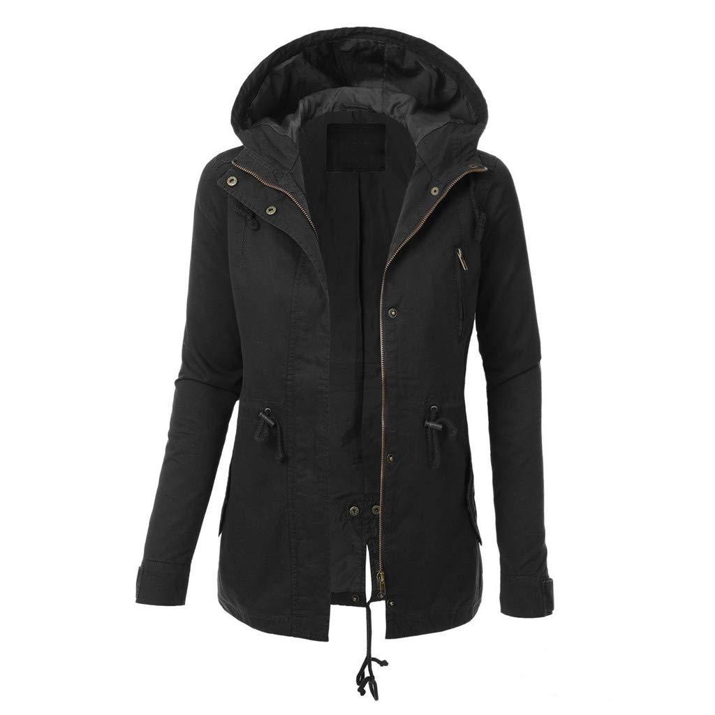 Alangbudu Women Zip Up Hoodie Coat Long Sleeve Sport Jacket Loose Fit Drawstring Waist Outwear Tops Sweatshirt w Pockets Black