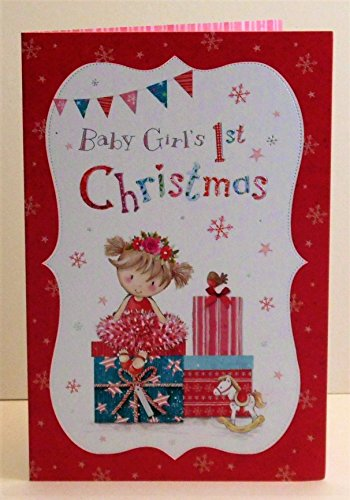 Babys First Christmas Card - Baby Girl's 1st First A Magical Christmas Adorable New Xmas Greeting Card