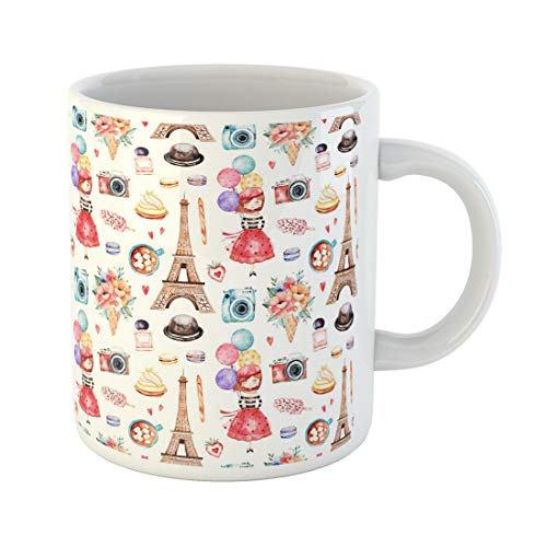 Semtomn Funny Coffee Mug Beautiful Eiffel Tower Camera Sweets Hat Bouquets Perfume Young 11 Oz Ceramic Coffee Mugs Tea Cup Best Gift Or -