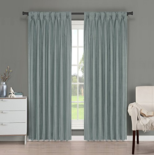Blue Dupioni Silk (Brielle Fortune Faux Dupioni Silk Lined Insulated Room Darkeninng Back Tab/Pinch Pleat Panel, 29 by 84